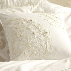 """Paisley Embroidered Pillow Cover - A very romantic pillow. I love the embroidered paisley that gives it that """"wow"""" factor. It's machine washable, so it's great option for a white pillow to have around pets or children."""