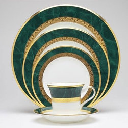 Noritake - Fitzgerald 5 Piece Place Setting - In the Masters White Bone China Collection, Fitzgerald features a wide rim of marbleized green with an outer band of smooth gold and an inner band of etched gold. Features: -Material: White Porcelain.-Green with outer and inner band of gold.-Cleaning and Care: Dishwasher safe.-Made in Japan.-Cup capacity: 7 oz..-Set includes salad plate, dinner plate, bread and butter plate, cup, saucer.-Fitzgerald collection.-Collection: Fitzgerald.-Distressed: No.Dimensions: -Dinner plate: 11'' Dia..-Salad plate: 8.25'' Dia..-Bread and butter plate: 6.75'' Dia..-Saucer: 6.25'' Dia..
