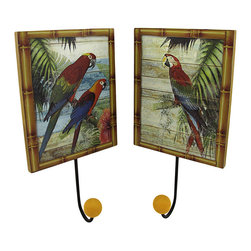 Set of 2 Tropical Parrot Wall Plaques with Coat Hooks - This pair of wooden plaques is pretty as well as practical, serving as an accent to your tropical decor while providing a place to hang your hat, coat, or purse. Each piece measures 10 inches long (including the hook), and 5 1/4 inches wide. They easily mount to the wall with a single nail or screw by the picture hanger or wire on the back. These plaques look great displayed in homes, offices, or hotels with a tropical vibe.