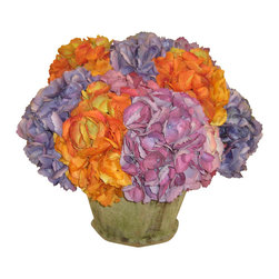 The French Bee - Tuscan Hydrangea in Garden Pot - You'll think you're dining al fresco in the center of Italy when you place this rustic bouquet of hydrangeas in the middle of your table. Dyed in exceptional shades of oranges and purples, the blooms are made from silk and look so much like the real thing you'll want to do a touch test. The terra cotta pot has moss detail and looks appropriately antiqued, though the piece won't age a day with just a little dusting.