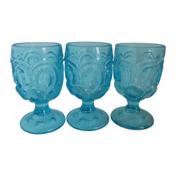 Turquoise Goblets - A fun set of three large antique turquoise goblets.  A perfect start or addition to a collection.  Super thick and substantial, with lots of design and cutwork.  Lovely for everday, super fun for entertaining or beach house decor.