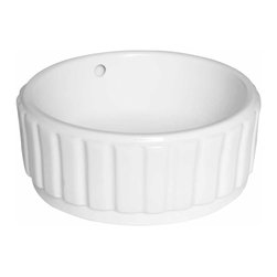 Renovators Supply - Vessel Sinks White Souffle Vessel Sink | 15353 - Vessel Sinks Above Counter: Made of Grade A vitreous China these sinks endure daily wear and tear. Our protective RENO-GLOSS finish resists common household stains and makes it an EASY CLEAN wipe-off surface. Ergonomic and elegant easy reach design reduces daily strain placed on your body. SPACE-SAVING design maximizes limited bathroom space. Easy, above counter installation let's you select from many faucet styles and countertop designs, sold separately. Measures 16 1/4 inch diameter