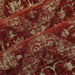 Royalist Chenille Upholstery Fabric in Burgundy - Royalist in Burgundy Chenille Upholstery Fabric has a red hue with relief textured floral pattern that is slightly rustic. Whimsical and romantic, this unique upholstery brings an antique feel to upholstery projects. Made in Belgium from a blend of 64% rayon and 36% polyester. Cleaning code: S. Repeat: 17″V 9″H; Width: 54″.