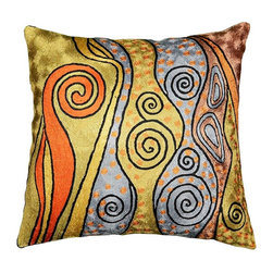 """Modern Silk - Klimt Art Nouveau Decorative Pillow Cover I Hand Embroidered 18"""" x 18"""" - Klimt art nouveau decorative pillow cover I Hand embroidered - Seeds, seed pods, tree of life symbols all speak of Gustav Klimt's symbolist paintings. Chaotic colors give it an spirited essence similar to jazz album covers of the 50s (compare Dave Brubeck's 'Take 5' album cover). A 15th century handcraft based on 19th century painting reminiscent of 20th century album covers done by 21st century handcrafters. What could be more perfect? The hand-dyed Kashmir wool embroidery on a cotton back and base makes a durable and easy care cover to update the old or accentuate the new."""