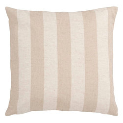 "Surya - Surya JS-015 Smooth Stripe Pillow, 18"" x 18"", Down Feather Filler - Compose a lasting look in your space with this supreme striped pillow. Featuring bold beige stripes against a delicate white backdrop, this piece is perfect to craft an ageless look from room to room. This pillow contains a zipper closure and provides a reliable and affordable solution to updating your home's decor. Genuinely faultless in aspects of construction and style, this piece embodies impeccable artistry while maintaining principles of affordability and durable design, making it the ideal accent for your decor."