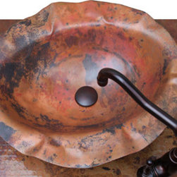 Sinks - A Sierra Copper Unique Copper Vessel Design Bathroom Sink in Tempered Patina color with uneven finish.
