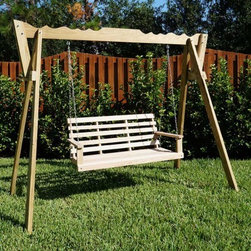 Flat Bottom Oak Swing with Swing Stand - Features: