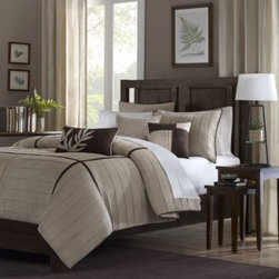 E & E Co., Ltd. - Dune 6-Piece Duvet Set - Luxuriously soft and inviting, this duvet set features soft, micro-suede fabric with pleating details. The creamy khaki color is accented with rich, chocolate brown, adding contrast and dimension to the duvet set.