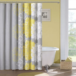 Madison Park - Madison Park Brianna Sateen Printed Shower Curtain - Elegant and inviting, this sateen printed shower curtain will add a stylish touch to any bathroom. Its fun design features white and yellow flowers that fade into a soft gray color. It is also 100 percent cotton and fully machine washable.