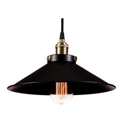 Warehouse of Tiffanys - Warehouse of Tiffany's Kim Pendant Light - This pendant light from warehouse of Tiffany's features a gorgeous sleek black finish. The shade spreads out from the top at a heavily obtuse angle.