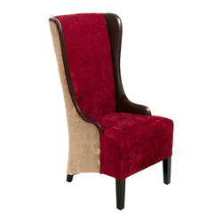 Great Deal Furniture - Grant Tall Chocolate Brown Ruby Fabric Leather Wingback Chair - Add the Grant Chocolate Brown Ruby Fabric Dining Chair to your dining space for a bold table scape. Built from a strong hardwood frame, the outside of the Grant chair is upholstered with light brown fabric that is draped with a whimsical floral design in a light colored shade. On the inside, the chair is dressed with ruby red fabric with brown bonded leather accents. This chair features a well-padded seat, tall backrest and wingback accent. With its tall stature and unique design, this chair will become a signature piece whether placed around your dining table, living room or office.