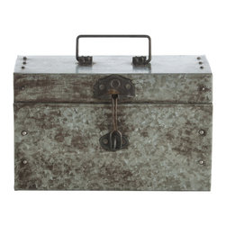 Kathy Kuo Home - Antique Galvanized Steel Industrial Small Hinged Box - Reminiscent of old army equipment, where flashlights and matches would be stored while out on the frontlines, this small iron hinged box has a no nonsense look and feel. It also offers great storage for remote controls and other clutter.  Vintage and industrial fans will be most pleased.