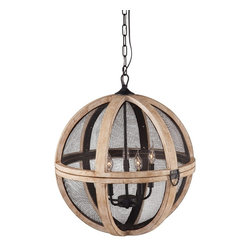 """Zuo Modern - Magma Ceiling Lamp by BSEID - Suspended within a distressed oak slatted orb is a black metal 5-light fixture. Black mesh adds another dimension of texture to this unique fixture making this a brilliant focal point over a table. Or ... try two along an elongated table. (ZM) 23"""" Diameter x 25.7"""" E12 Type BA max.40W bulbs included UL listed"""