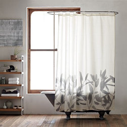 New Bamboo Flower Shower Curtain - No-maintenance greenery. A watercolor-like silhouette of swaying bamboo branches printed on flowing white cotton makes a soft counterpart to the hard surfaces of the bathroom.
