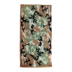 Zeckos - Camouflage Print Beach Towel 60 Inches x 30 Inches Camo Hunting Military - This awesome terrycloth towel features a green, brown and black hunter's camouflage print. The towel measures 60 inches long, 30 inches wide, with sewn edges to prevent fraying. It makes a great gift for hunting fanatics, military collectors and survivalists.