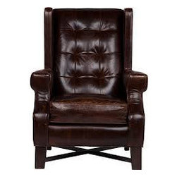 Manchester Leather Chair - Break out your scotch and smoking jacket old man, the Manchester Leather Chair is a classic wingback that will have you pontificating classic Masterpiece Theater style in no time.åÊIn your mad professor library amongst gilded framed portraits of dead heroes or casually juxtaposed in a more bright and airy space to really break from minimalism, this classic shape can do no wrong. The wingback åÊchair is a timeless and modern shape built for warmth and the Manchester Leather Chair has captured the classic and given it present day sex appeal. Every gentleman needs a chair.