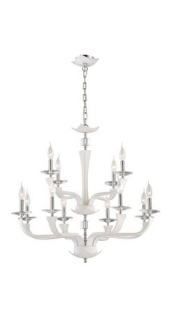 Eurofase - Eurofase 22807-014 Pella 12 Light Chandelier in Chrome with White Shade 22807-01 - Clean elegance, distinctive graining of the leather and hand stitching are seen in the Pella collection. Highlighted with crystal accent and bobeches add sparkle to the fixture.Crystal cut accents Uses 12 60-watt candelabra base bulbs (not included) UL listed for safetyBulb Base: Candelabra Bulb Type: Incandescent Chain Cord Length: 180 Collection: Pella Country of Origin: CN Diameter: 31-1 2 Finish: Chrome Height: 27-3 4 Kit: No Number of Lights: 12 Shade Finish: White Type: Non Crystal Chandeliers Voltage: 120 Wattage: 60