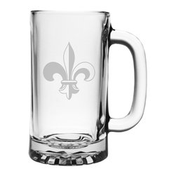 Susquehanna Glass - Fleur De Lis Pub Beer Mug, 16oz, S/4 - Each 16 ounce mug features a sand etched fleur de lis design. Dishwasher safe. Sold as a set of four. Decorated in the USA.