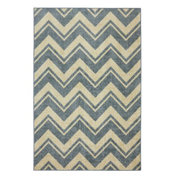 Mohawk Home - Mohawk Strata Lascala Chevron Stripe Blue Contemporary 5' x 8' Rug (11575) - The classic chevron design has been rejuvenated with modern colors and a durable construction.  Create a pop of color or a dynamic focal point with this contemporary design. For decades, Mohawk has been dedicated to making superior quality area and accent rugs that are manufactured right here in the United States.  Packed with performance these rugs offer durability paired with beauty and affordability. You can instantly transform any room in your home with one of our luxurious, chic and durable tufted rugs.