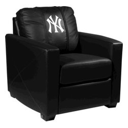Dreamseat Inc. - New York Yankees MLB Xcalibur Leather Arm Chair - Check out this incredible Arm Chair. It's the ultimate in modern styled home leather furniture, and it's one of the coolest things we've ever seen. This is unbelievably comfortable - once you're in it, you won't want to get up. Features a zip-in-zip-out logo panel embroidered with 70,000 stitches. Converts from a solid color to custom-logo furniture in seconds - perfect for a shared or multi-purpose room. Root for several teams? Simply swap the panels out when the seasons change. This is a true statement piece that is perfect for your Man Cave, Game Room, basement or garage.