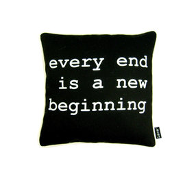 Beginnings Black 16X16 Pillow (Indoor/Outdoor) - 100% polyester cover and fill.  Suitable for use indoors or out.  Made in USA.  Spot Clean only