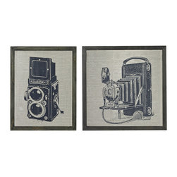 Sterling Industries - Sterling Industries 26-8662/S2 Set Of 2 Antique Camera Prints On Glass - Accessory (2)