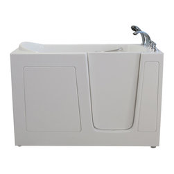 Creative Bathrooms - E-Series Air Massage 60 in. x 30 in. Walk In Tub in White with Right Drain - The E-Series 60 in. x 30 in. (E6030) Air Massage  Walk In Tub is the most affordable walk in tub featuring an easy-to-clean high gloss triple gel coat tub shell for excellent color uniformity. Stainless steel frame with adjustable feet and has a 6.5 in. threshold for easy entry. ADA Compliant with components of 17 in. seat height, textured floor and a built-in grab bar. The E6030A air massage tub comes standard with eighteen (18) therapeutic air massage jets. Includes a five (5) piece roman faucet in chrome with hand held shower unit.  The Ella E6030 has soaking, air massage or dual massage options and right or left drain location. Size: 37 in. width x 60 in. length x 30 in. height. Limited Three (3) Year warranty on tub components. For more product information, please call 1.800.480.6850.