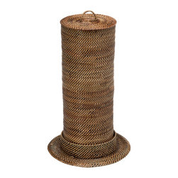 KOUBOO - Toilet Paper Roll Tower & Cover in Nito/Rattan, Brown - Keep your toilet paper rolls within reach when replacement is needed. This toilet roll tower woven from Nito, a vine similar but finer than Rattan, keeps up to three toilet paper rolls stowed away in style saving much needed storage space in your bathroom.