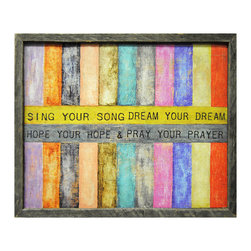 Kathy Kuo Home - Sing Your Song Colored Stripe Reclaimed Wood Wall Art - Add bright color and positive energy to your wall. Sweet and childlike vertical stripes are intersected with gentle reminders to be yourself. The original was crafted by artisans in Georgia, then printed to maintain the integrity and nuances of color and texture. It's hand-framed with reclaimed wood and comes ready to hang.