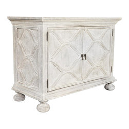 Noir - Noir - Comles Sideboard, White Weathered - White Weathered Mahogany Wood