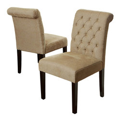Great Deal Furniture - Elmerson Roll-Back Dining Chairs, Cream, Set of 2 - Dual citizenship: While these are most definitely your favorite dining room chairs, they sometimes take up residence in your living room or bedroom as comfy and chic accent chairs. And because they can work well in any location, there's no reason to impose undue restrictions on them.