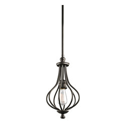 Kichler Lighting - Kichler Lighting Kensington Traditional Mini Pendant Light X-ZO33334 - You can scour antique stores for that perfect vintage birdcage - or you can add a touch of that style when you bring this 1 light mini pendant from the Kensington&trade: collection home. Slender ironwork ebbs and flows in an Olde Bronze&trade: finish, creating an elegant interpretation of a decorating classic.