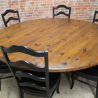 rustic 84 round table - Made by www.ecustomfinishes.com