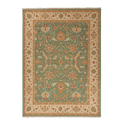 Jaipur Rugs - Hand-Knotted Oriental Pattern Wool Green/Ivory Area Rug - Originally a construction style developed in the Caucasian region, the Sumak rug is an organic, hand-knotted, flat-woven rug that India has made its own over the centuries. Traditional designs predominate this award-winning collection, but the Jaimak Collection combines the benefits of contemporary color and durable wool for rug styling that adds sophistication to any environment. Through its unique herringbone effect and distinctive double-sided pattern, Jaimak creates a luxurious look and feel far exceeding its economical price point.