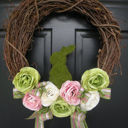 Moss Bunny Ranunculus Easter Wreath By Daulhouse Shop - I love Ranunculus flowers and the little bunny on this wreath.