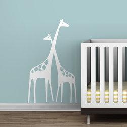 Littlelion Studio Baby Zoo Mom and Baby Giraffe Wall Decal - Littlelion Studio Baby Zoo Mom and Baby Giraffe Wall Decal