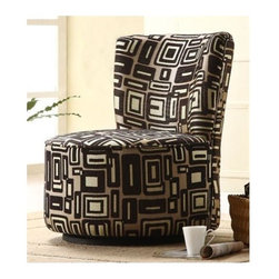 Homelegance - Easton Lounge Chair with Brown Geometric Pattern - When designing your living space the accent pieces you choose not only to fill the room but allow for the expression of your individual style to come shining through.