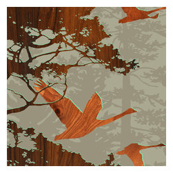 jefdesigns - Forest Critters Print — Bird 2 - You can practically hear the geese calling in this autumnal print created from an original drawing by Joe Futschik, featuring soaring birds across a wooded forest backdrop. Six by six in size, this limited-edition print is digitally enhanced with wood grain and protected from the sun with a UV gloss that also heightens color.