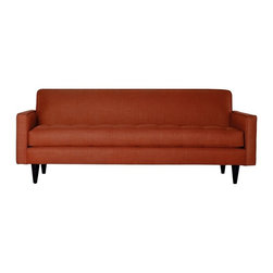 "Apt2B - Monroe Apartment Sofa, Tangerine, 68""x34""x31"" - With a Mad Men-esque silhouette, The Monroe is a perfect way to add a hip factor to any room. The clean lines and simple shape make it perfect for any small space. It packs a big punch without taking up a lot of square footage. Each piece is expertly handmade to order in the USA and takes around 2-3 weeks in production. Features a solid hardwood frame and upholstered in a 100% polyester fabric."