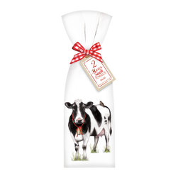 """Mary Lake- Thompson Ltd. - Farmhouse Cow Towel Set - - Set of two flour sack towels- Towel comes with matching ribbon and tag- Great for drying dishes and cleaning up!- Towel 30"""" x 30"""" featuring beautiful design by artist Mary Lake-Thompson."""