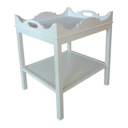 Charleston Side Table - White Dove - Named after one of our favorite southern haunts - A traditional city with pizza - Just like our table we have taken the traditional Chippendale elements and added them to this charming side table. Who doesn't need 2 for either side of a bed or sofa? Dimensions: 24 L x 20 W x 29.5 H. Available in 16 highly lacquered colors you choose the color and surface option. For custom color call 203 216 9848.