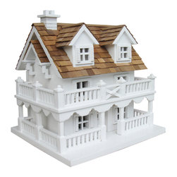 Home Bazaar - Cape Cod Birdhouse with Bracket - Modeled on a classic Cape Cod home, this delightful birdhouse will fill your backyard with lively song and color. With such adorable details as a wraparound porch and cedar-shingled roof, you'll wish you could move in yourself!
