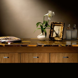 Tiger Eye Table - A table made from Sirena (tiger eye) from our gemstone surface collection.