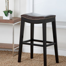 Abbyson Living - Abbyson Living Rivoli Dark Brown Leather Nailhead Trim Bar Stool - The curved seat and the nailhead trim of this bar stool present a very comfortable, classic mid-century design. The Rivoli stool is versatile enough to function equally well in the living room, or dining room.