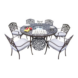 """Oakland Living - Oakland Living Mississippi 60"""" 7-Piece Dining Set with Cushions - Oakland Living - Patio Dining Sets - 2205212014AB - About This Product:"""