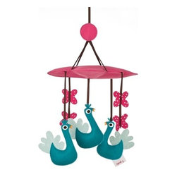 3 Sprouts - Peacock Mobile - A welcome addition to any child's room, the 3 Sprouts mobile presents a relaxing vision for your baby to enjoy while drifting off to sleep. As the mobile floats above, your little one can watch their favorite animal friends romp under a fluffy felt cloud. It makes a great nursery gift! Each mobile comes fully assembled and ready to hang.