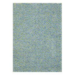 InnerSpace Luxury Products - InnerSpace Indoor Vivoli Shag Rug Collection - Green &  Blue (5-ft x 7-ft) - InnerSpace Indoor Vivoli Shag Rug Collection - Green & Blue.  The 5-ft x 7-ft flame-retardant area rug is crafted with a soft, deep pile of table-tufted, long yarn shag.  It provides a comfortable foot fall and a dynamic ambiance in green and blue that form the perfect style quotient for children's play rooms and contemporary decorating environments.  Featuring a 4-cm pile height, polyester yarn and threading, and a polyester/cotton blend backing, this versatile area rug is for indoor use. Spot clean with carpet cleaner; to prevent color fading, do not saturate the stain; do not vacuum, remove loose dirt with a hand brush.  One Year Manufacturer Limited Warranty.  Also available in 8-ft x 10-ft.