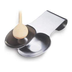 Amco Double Spoon Rest - No more scrubbing the stovetop for hours after a night of cooking chili sauce or soup. Amco's spoon rests catch even the thickest of drips keeping stovetop and countertops clean during cooking and serving. This spoon rest does double duty - holding multiple utensils at once with two sided well.
