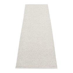 Pappelina - Pappelina Svea Metallic Stone & Fossil Grey Runner Rug - This outdoor rug from Pappelina contains a basic geographic pattern. It uses PVC-plastic and polyester-warp to give it ultimate durability and clean-ability. Great for decks, bathrooms, kitchens and kid's rooms.