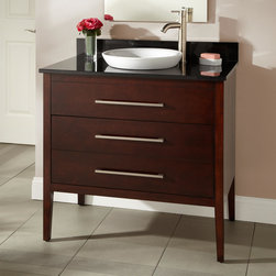 """36"""" Wiley Walnut Vanity for Semi-Recessed Sink - A pristine White sink emerges from the refined 36"""" Wiley Vanity with Walnut finish, perfect for stowing essentials in a modern master bath."""